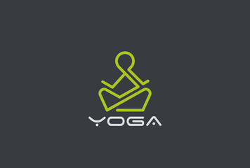 Yoga Logo vector Linear. Man sitting Lotus pose. Fitness icon