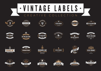 Vintage Labels Logo vector. Coffee Beer Sale Badges Retro icons