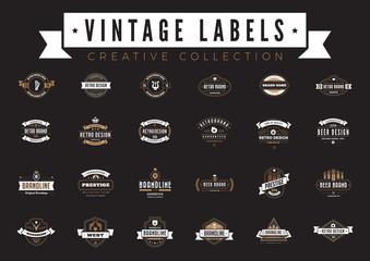 Vintage Labels Logo vector. Coffee Beer Sale Badges Retro icons