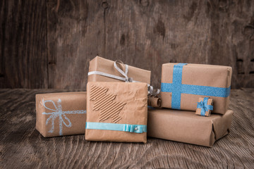 Christmas concept, handmade paper gift boxes