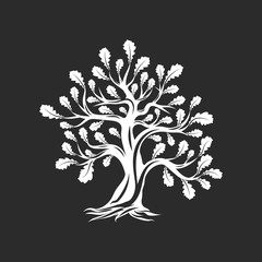 Huge and sacred oak tree silhouette logo isolated on dark background. Modern vector national tradition green plant icon sign design.  Premium quality organic logotype flat emblem illustration.