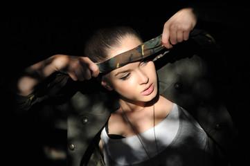Beautiful girl military style