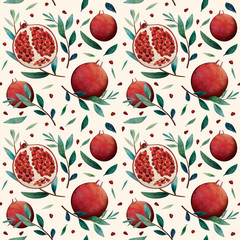Seamless pattern, red garnet. Fruit. Texture background. Watercolor. White background