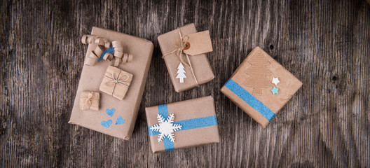 Gifts boxes in decorative wrapping paper