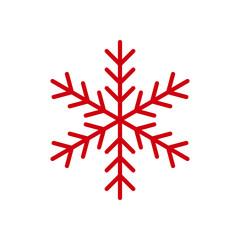 Red Snowflake flat icon. Snow pictogram. Winter symbol. Vector illustration