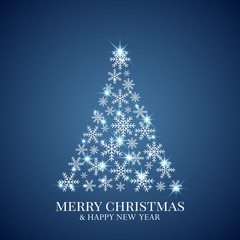 Christmas tree made from snowflakes. Christmas greeting card. Minimal abstract background. Vector illustration.