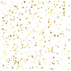 Abstract Background with Many Random Falling Golden Stars Confetti on Background. Invitation Background. Banner, Greeting Card, Christmas and New Year card, Postcard, Packaging, Textile Print