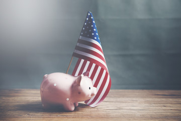 A piggy bank with an American flag