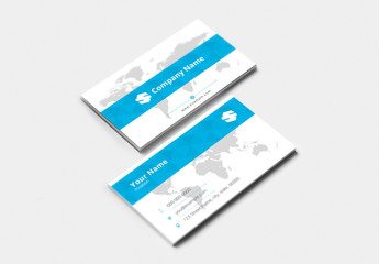 Business Card with Blue Accents and World Map Background