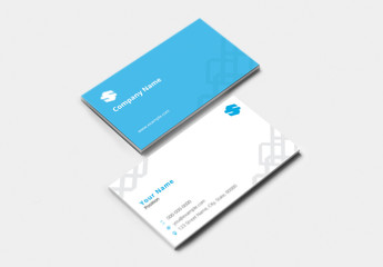 Business Card with Blue Accents and Repeating Squares Element