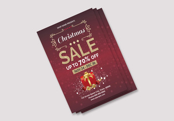 Christmas Sale Flyer with Gold Accents and Gift Element