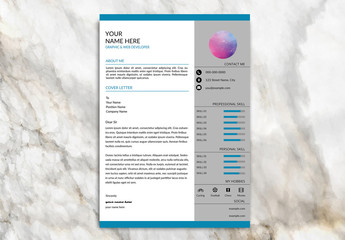 Resume Set with Teal Header and Footer