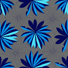 abstract blue tropical leaves on a gray background. Seamless pattern