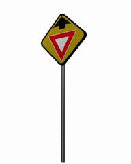 Straßenschild USA: Ankündigung, Vorfahrt gewähren.