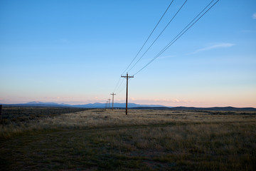 Line of electricity poles in a Colorado landscape