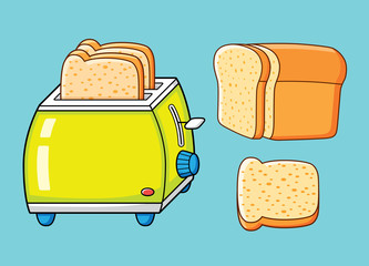Toaster with slices and half a loaf of bread.