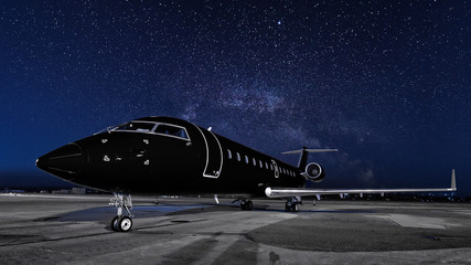 business jet. black plane is parked