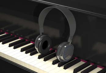 Modern headphone on piano keyboard (3d illustration).