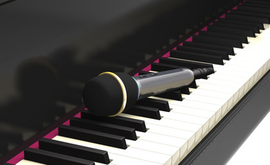 Studio microphone on the piano keyboard (3d illustration).