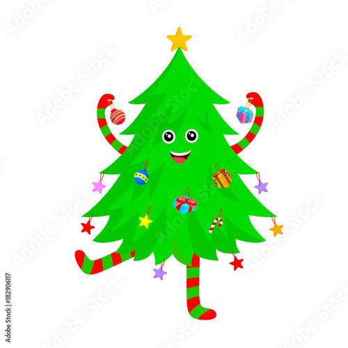 Cartoon Christmas Tree.Cute Christmas Tree Cartoon Characters Design Merry