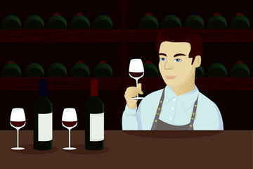 Sommelier cartoon illustration