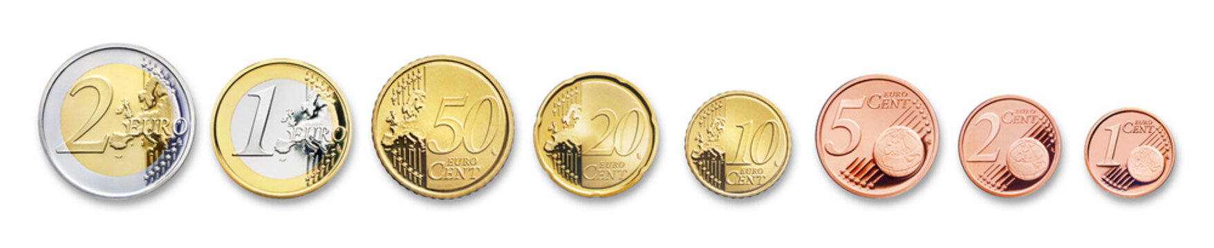 euro coins, isolated on white,  with shadow