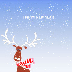 Cartoon fan, cute reindeer in red striped scarf with white horns on blue, snow, Happy New Year stock vector illustration for typography banner, for congratulation card, greeting card