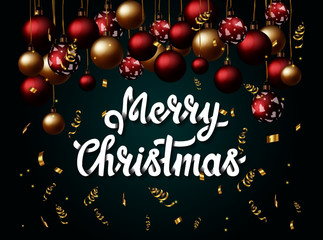 Beautiful banner with handlettering Merry Christmas and Christmas balls on green isolated gradient background. For cards and posters.