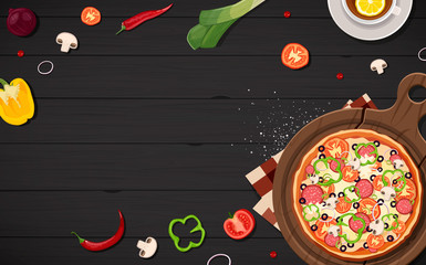 Pizza frame view from above cartoon gray black wood background with fresh ingredients vector illustration. Menu.