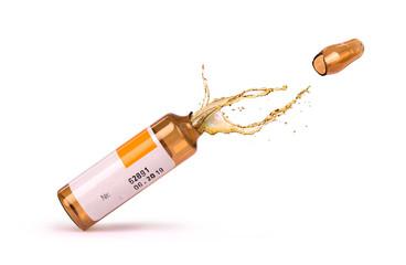 liquid  medicine dripping from broken ampule isolated