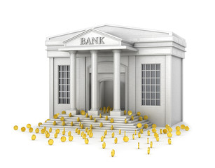 The concept of reliable savings. A bank building that fills with gold coins. 3d illustration