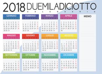 2018 Calendar - Italian Version