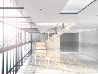 Wall Mural - large white hall where there is a panoramic window, a staircase to the second floor. Building under the shopping center, office. 3d illustration