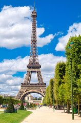 The Eiffel Tower on a sunny summer day in Paris