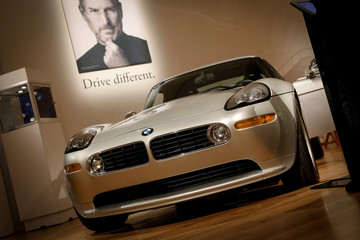 A 2000 BMW Z8 owned by Apple Founder Steve Jobs is displayed during a media preview for the 'RM Sotheby's Icons' sale at Sotheby's in New York