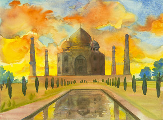 Watercolor painting landscape of archaeological site in the Taj Mahal.