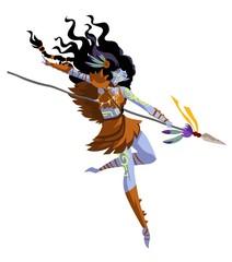 fantasy huntress dark elf woman