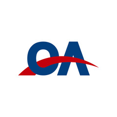 Initial letter OA, overlapping movement swoosh logo, red blue color