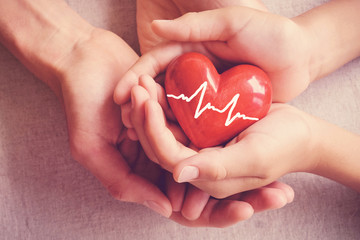 adult and child hands holiding red heart, adult and child hands holiding red heart, health care, organ donation, family insurance concept