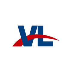 Initial letter VL, overlapping movement swoosh logo, red blue color