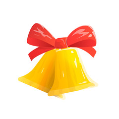 Jingle Bells with Red Bow Isolated on White Background. Christmas Gold Bells. Cartoon Vector illustration.