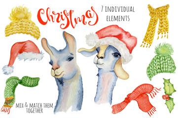 Cute Christmas lama watercolor creator Winter illustration with decorations alpaca