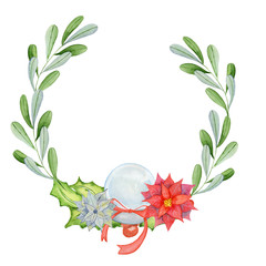 Merry Christmas watercolor wreaths with floral winter elements. Happy New Year card, posters. Flowers, spruce branches and mistletoe branches