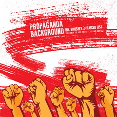 Propaganda Background Style Revolution Fist Raised In The Air. Clenched Fist
