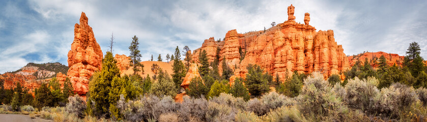 Red Canyon Panorama in Dixie National Forest, Utah, USA.