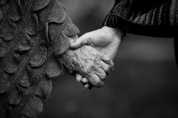 Holding two people hands young and old closeup black and white picture.