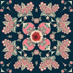 Bandana print with abstract flowers in ethnic style. Beautiful vector illustration.