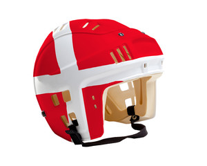 Hockey Helmet With Painted Flag of Denmark