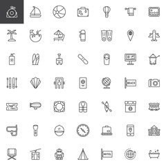 Universal travel line icons set, outline vector symbol collection, linear style pictogram pack. Signs, logo illustration. Set includes icons as passport, globe, ticket, hotel booking, plane, case