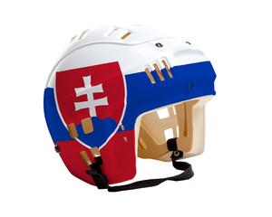 Hockey Helmet With Painted Flag of Slovakia